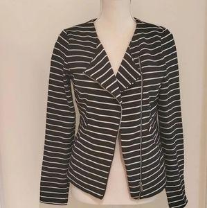 Mossimo Black & White Striped Zip Front